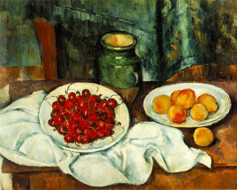 STILL LIFE WITH PLATE OF CHERRIES,1885-87, Los Angeles. Paul Cezanne