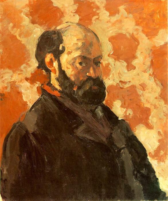 1877 Self-Portrait on a Rose Background. Paul Cezanne
