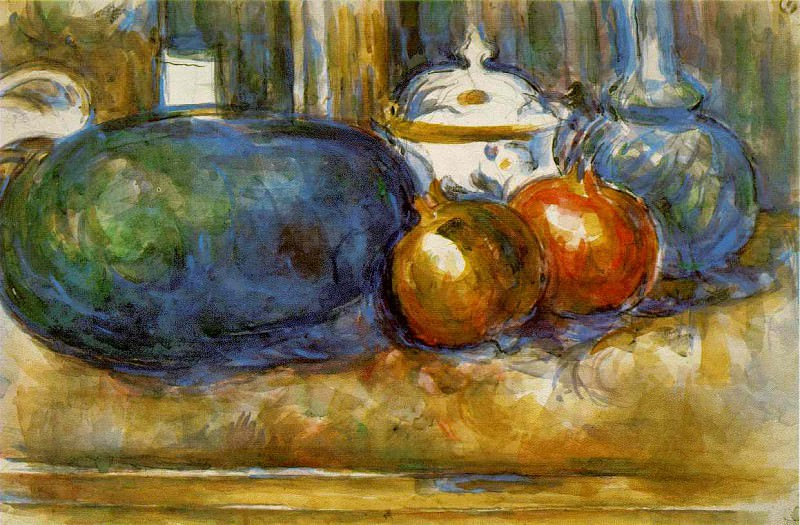 STILL LIFE WITH WATERMELON AND POMEGRANATES,1900-06,. Paul Cezanne