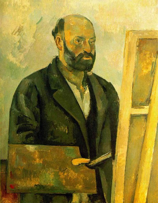 SELF PORTRAIT WITH PALETTE,1885-87, COLLECTION THE A. Paul Cezanne