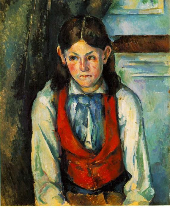 GARCON AU GILET ROUGE,1888-90, BARNES FOUNDATION. Paul Cezanne