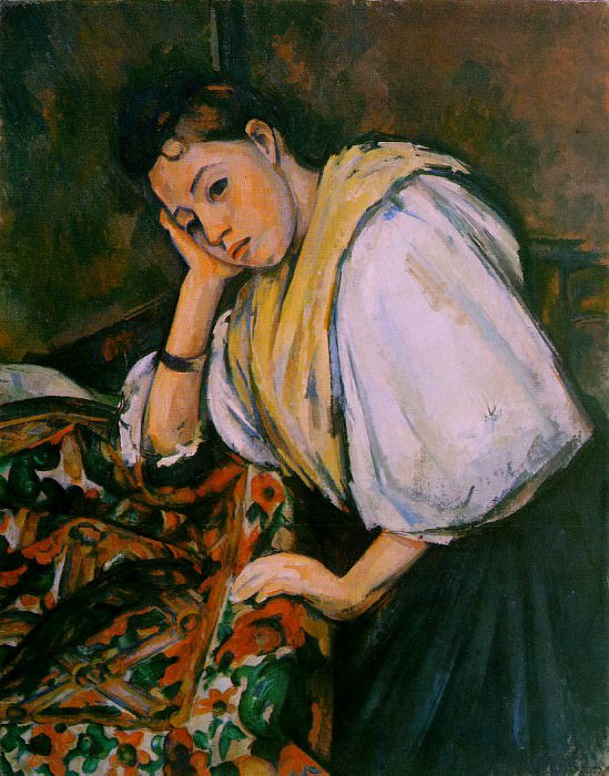 YOUNG ITALIAN GIRL RESTING ON HER ELBOW,C.1900, COLL. Paul Cezanne