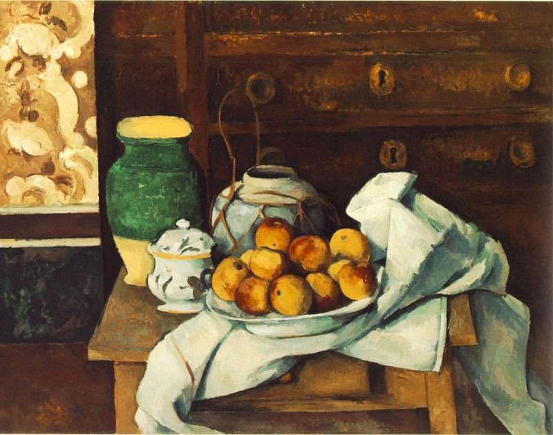 STILL LIFE WITH COMMODE,1883-87, BAYERISCHE STAATSGE. Paul Cezanne