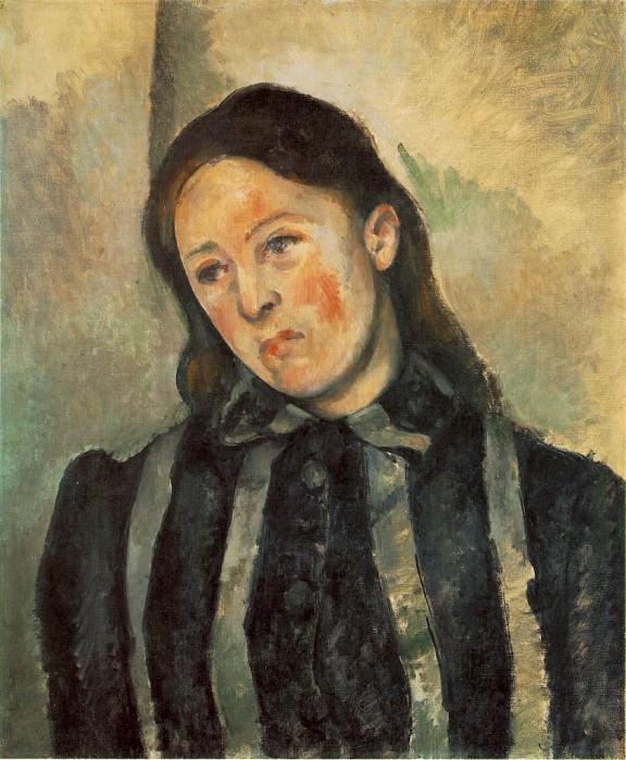 MADAME CeZANNE AUX CHEVEUX DeNOUeS,1890-92, PHILADEL. Paul Cezanne