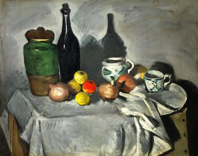 Pots, bottle, cup, and fruit. Paul Cezanne