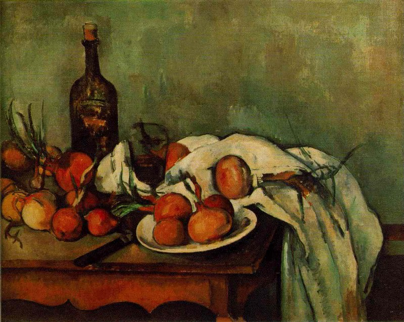 STILL LIFE WITH ONIONS AND BOTTLE,1890-95, LOUVRE. Paul Cezanne