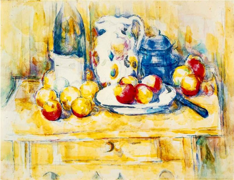 Still Life with Apples, a Bottle, and a Milk Pot. Paul Cezanne