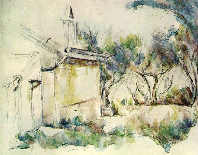 Le Cabanon de Jourdan (watercolor). Paul Cezanne