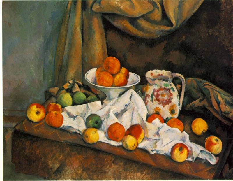 COMPOTIER, PITCHER, AND FRUIT (NATURE MORTE) ,1892-9. Paul Cezanne
