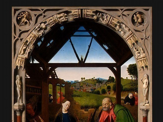 THE NATIVITY,DETALJ NG WASHINGTON. Petrus Christus