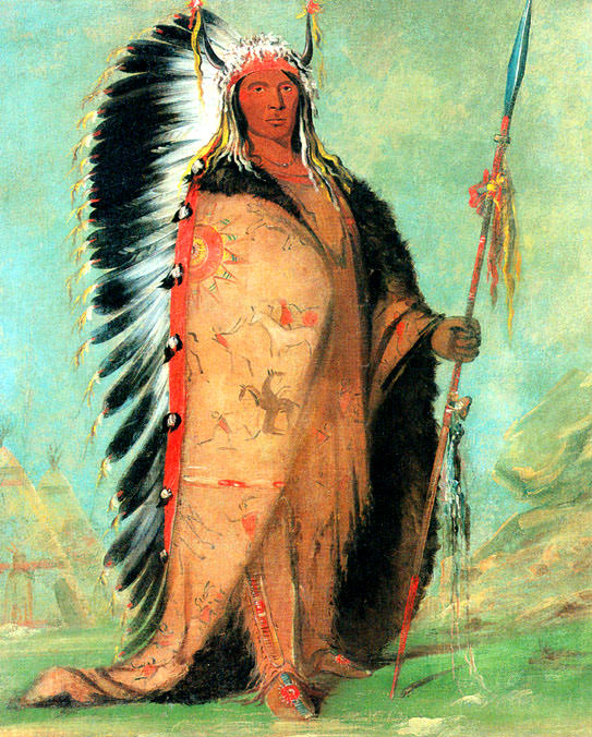 Chief Black Rock a Plains Indian wearing Eagle feathers and Buffalo robe sqs. George Catlin