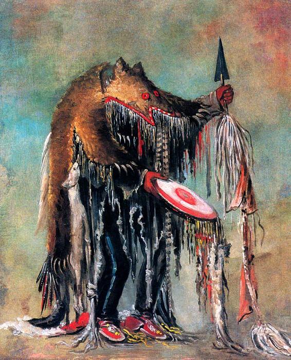 White Buffalo Medicine Man wears Bearskin as he prays over a dying man. George Catlin
