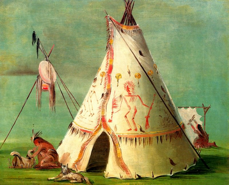 A Crow Tepee made of decorated Buffalo skins. George Catlin