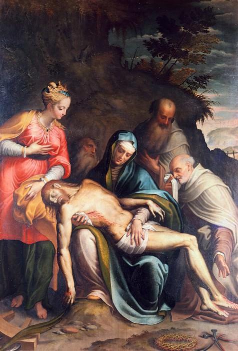 Lamentation of Christ with Saint Catherine of Alexandria and the prophets. Bernardino Campi