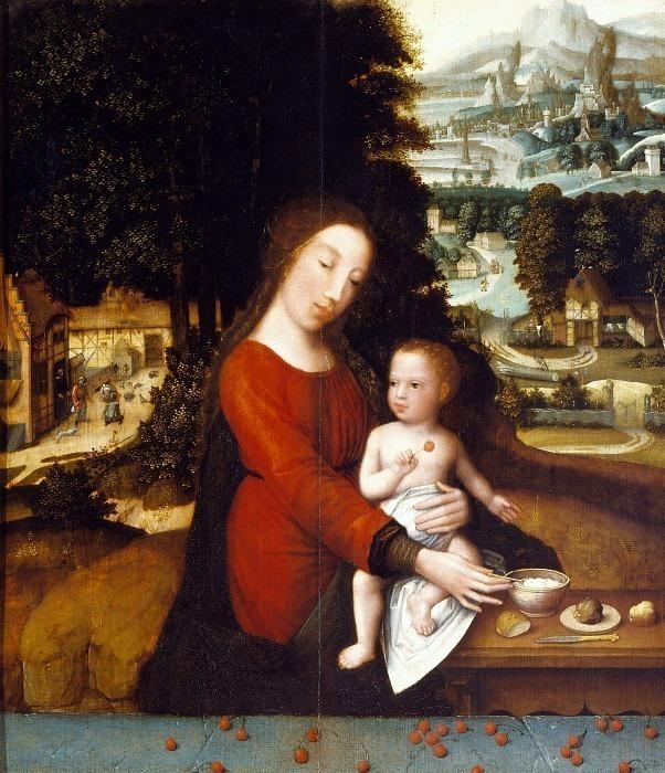 Мадонна с младенцем за приёмом пищи. Герард Давид (школа)