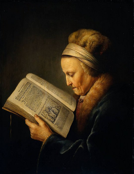 Old woman reading dictionary. Gerrit Dou