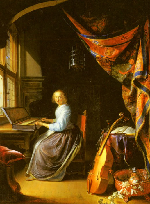 A Woman Playing A Clavichord. Gerrit Dou