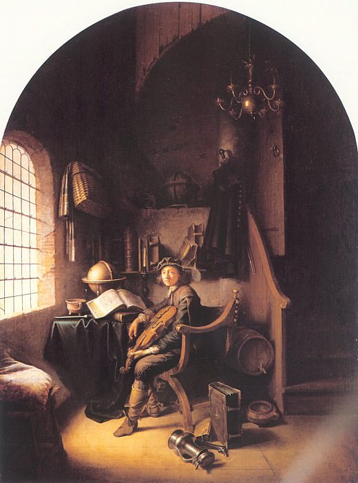 Молодой скрипач на фоне интерьера. Геррит Доу
