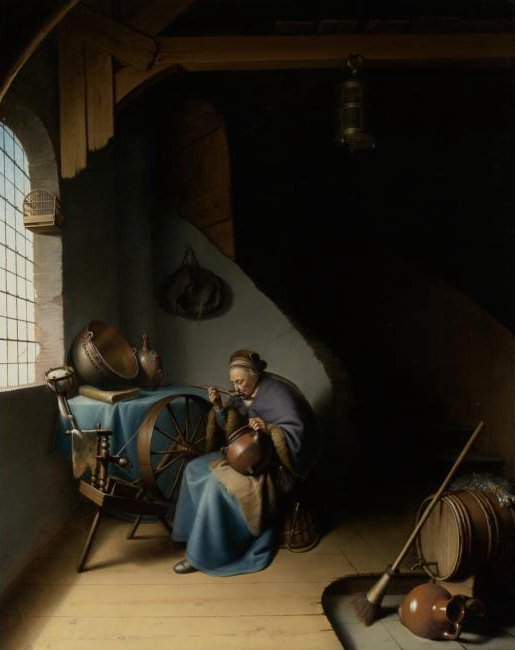 An Elderly Woman Seated by a Window at her Spinning Wheel Eating Porridge. Gerrit Dou