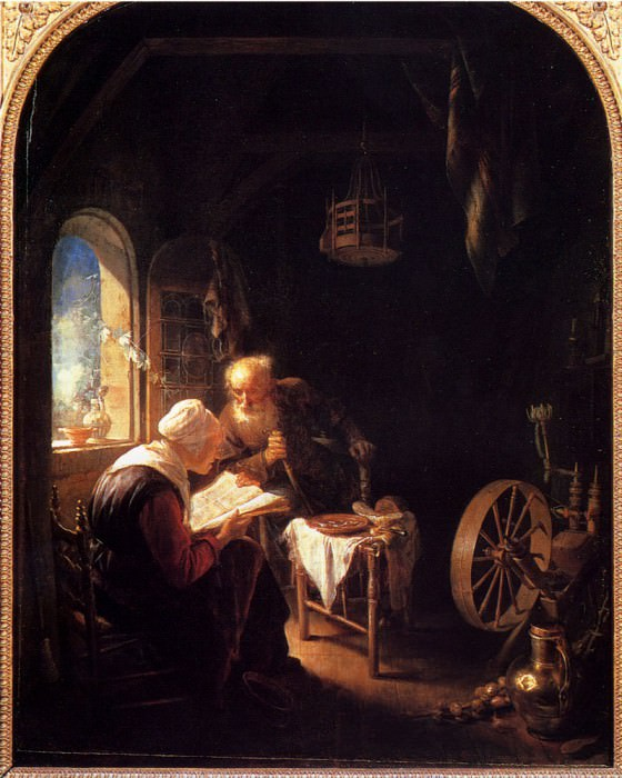 The Bible Lesson Or Anne And Thomas. Gerrit Dou