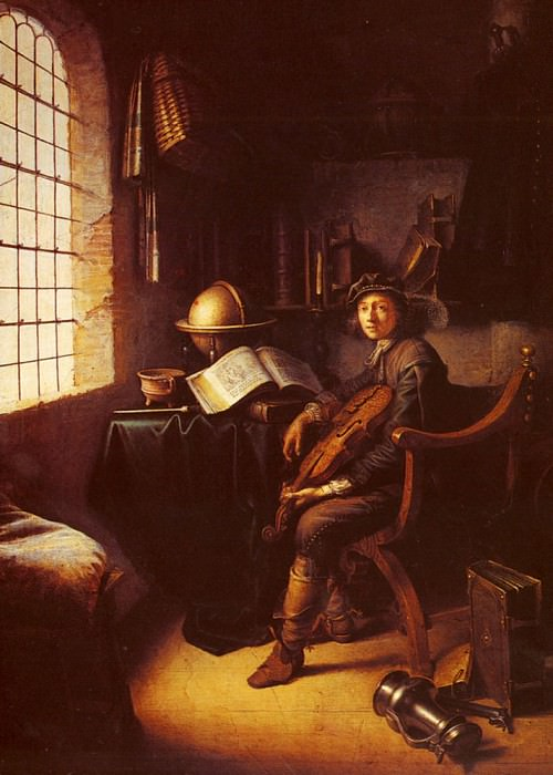 An Interior With A Young Violinist (detail). Gerrit Dou