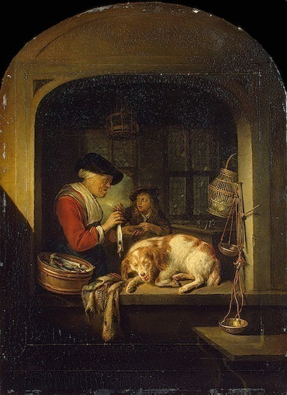 The herring seller, 1670-75, 41x30 cm, Eremitaget. Gerrit Dou