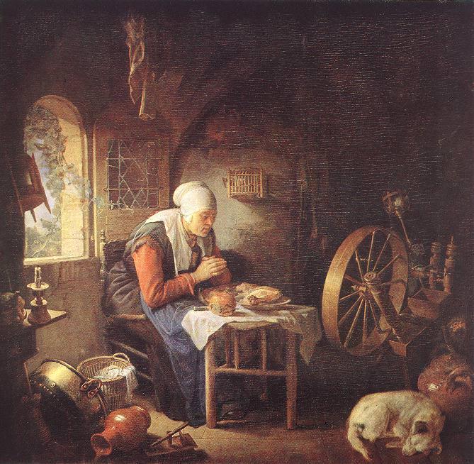The Prayer of the Spinner. Gerrit Dou