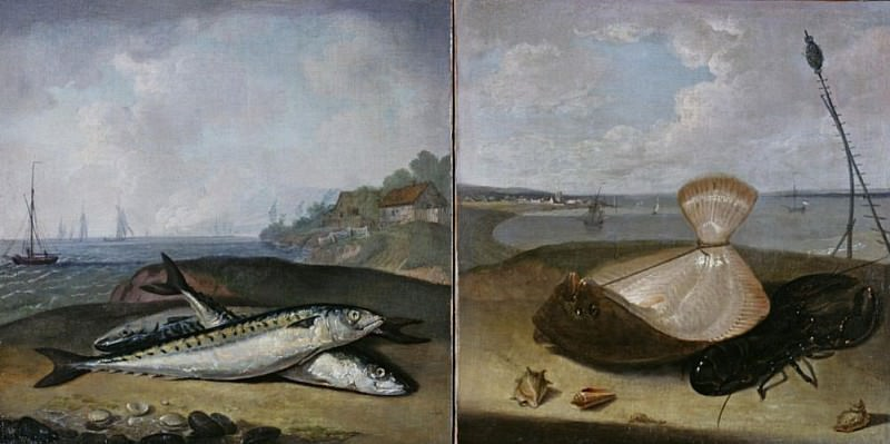 Two fish paintings. Arthur William Devis