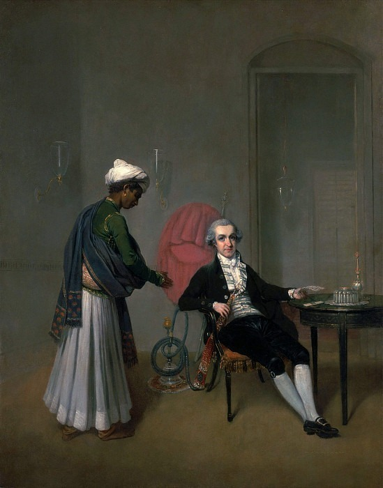A Gentleman, possibly William Hickey, and his Indian Servant. Arthur William Devis
