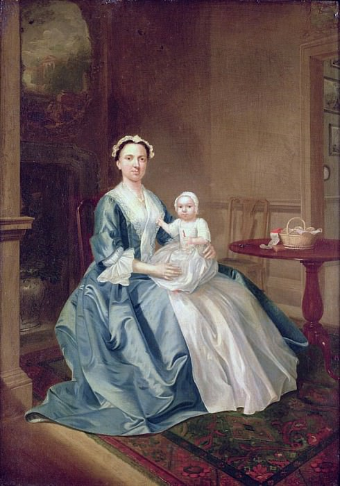 Portrait of a lady of the Lister family and Child. Arthur William Devis