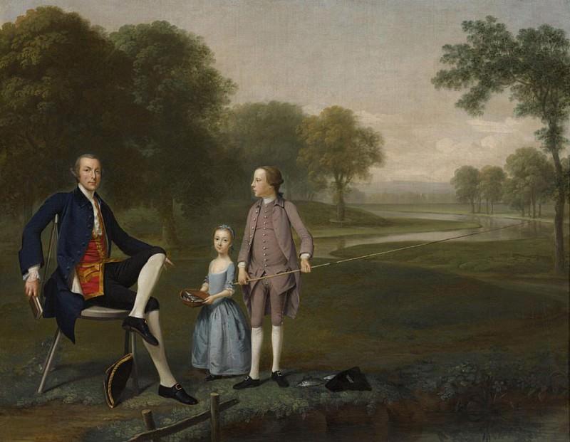 Richard Moretan, Esq. of Tackley with his nephew and niece John and Susanna Weyland. Arthur William Devis