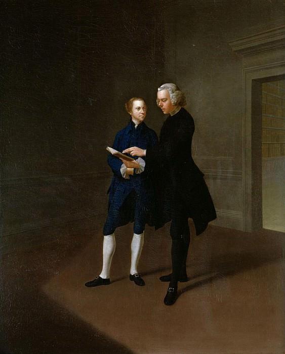 Portrait of Assheton Curzon, late Viscount Curzon with tutor Dr Mather. Arthur William Devis