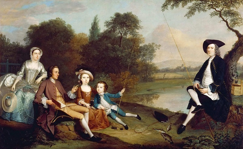 Portrait of a Family, traditionally known as the Swaine family of Fencroft, Cambridgeshire. Arthur William Devis