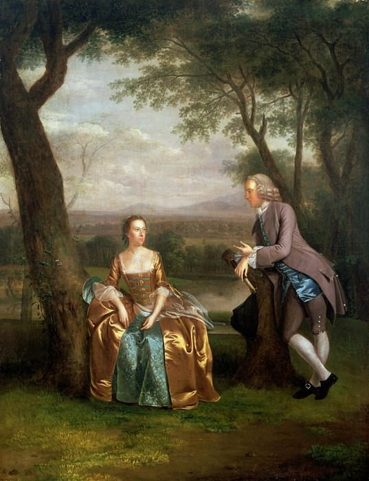 Portrait of a Couple, possibly Daniel and Mary Swaine of Leverington Hall, Isle of Ely. Arthur William Devis