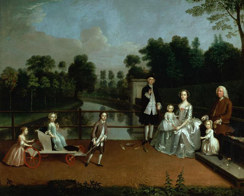 A Family Group on a Terrace in a Garden. Arthur William Devis