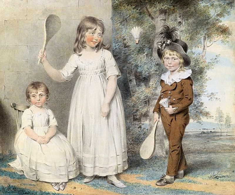 The children of Frederick and Ellen Ray of Abingdon, Berkshire, in a landscape. John Downman