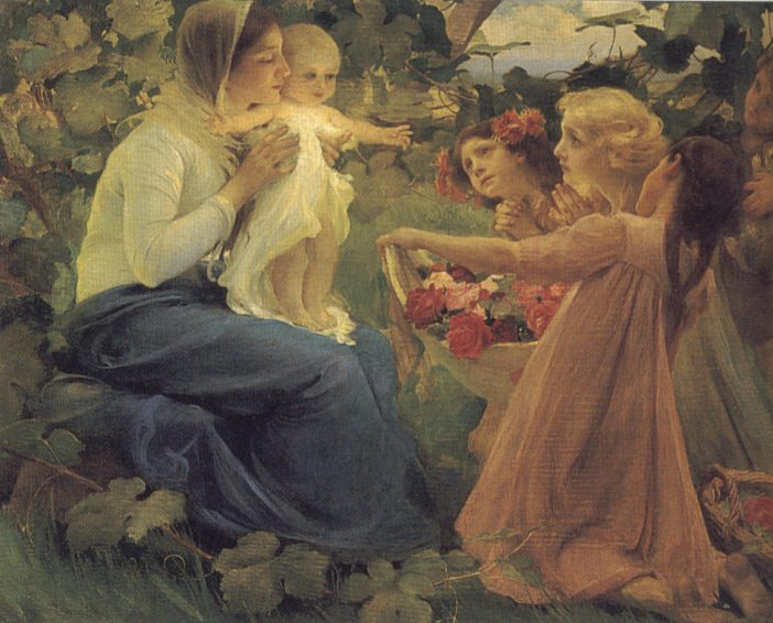 Presenting Flowers to the Infant. Franz Dvorak