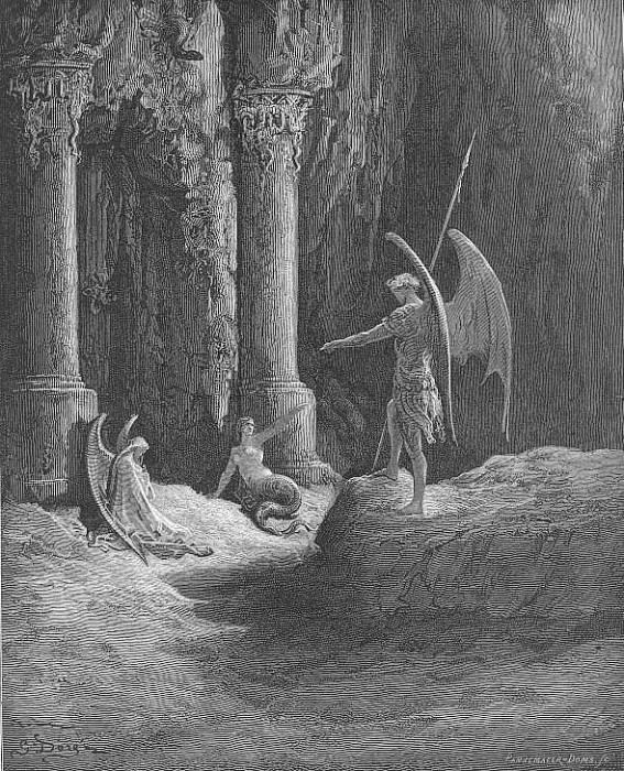 Before the gates there sat On either side a formidable shape. Gustave Dore