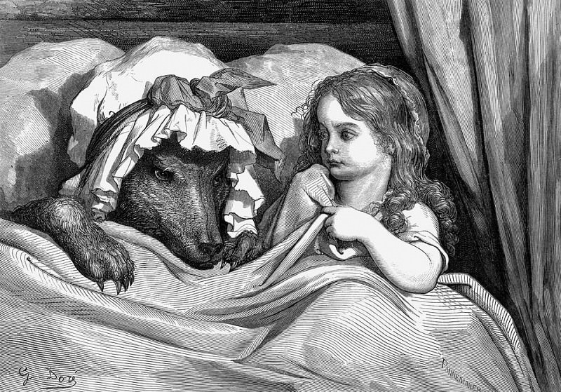 She was astonished to see how her grandmother looked. Gustave Dore