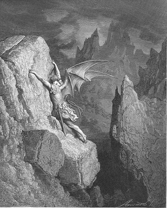 With head hands wings or feet pursues his way And swims or sinks or wades or creeps. Gustave Dore