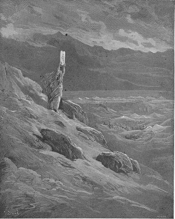 The beseech That Moses might report to them his will And terror cease. Gustave Dore