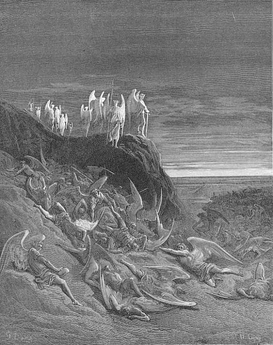 On the foughten field Michael and his angels prevalent Encamping placed in guard their wa. Gustave Dore