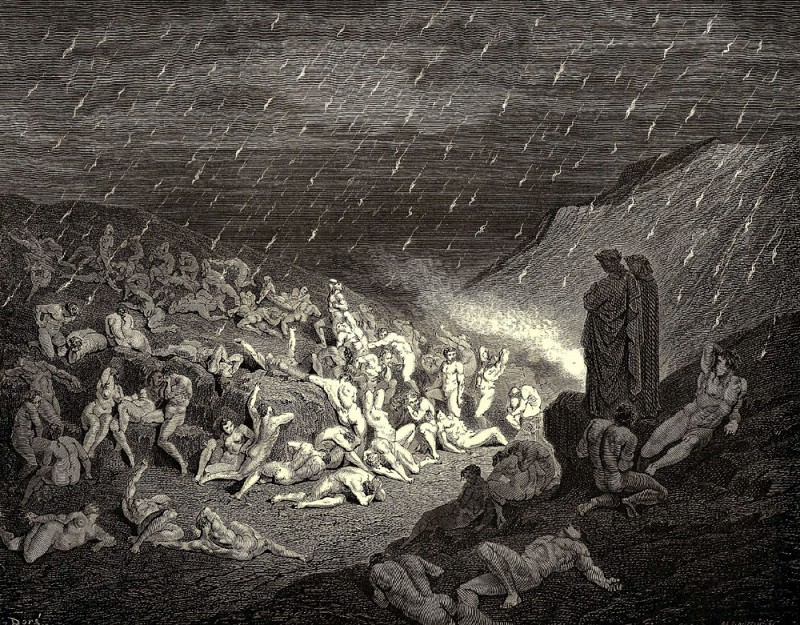 Ever and ever their hands tried to get rid of these flames. Gustave Dore