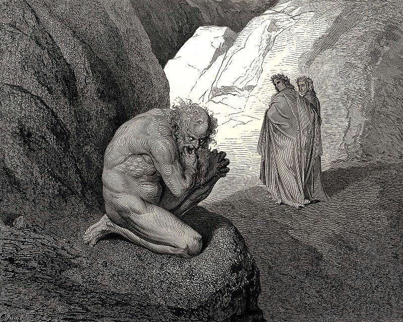 Curs-d wolf thy fury inward on thyself prey and consume thee. Gustave Dore