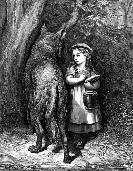 Red Riding Hood meets old Father Wolf. Gustave Dore
