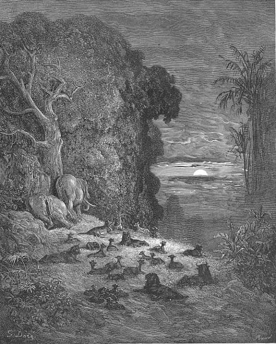 And now on earth the seventh Evening arose in Eden. Gustave Dore