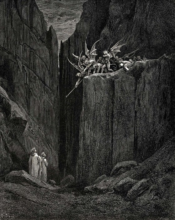 Scarcely had his feet reach-d to the lowest of the bed beneath. Gustave Dore