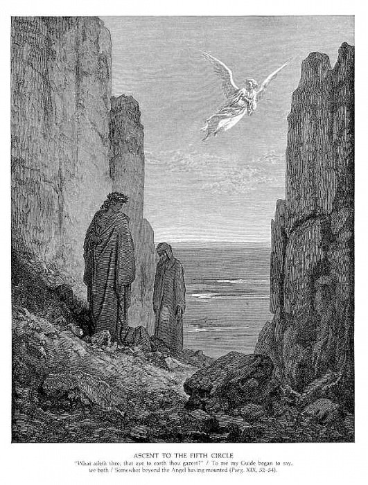 Ascent to the Fifth Circle. Gustave Dore