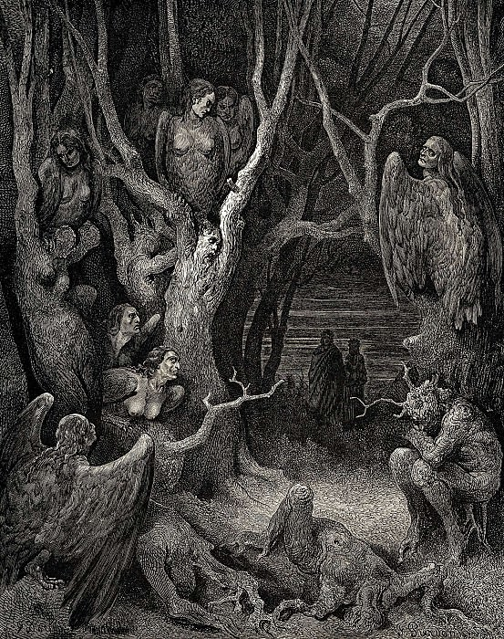 It is here where the hideous Harpies build their nests. Gustave Dore