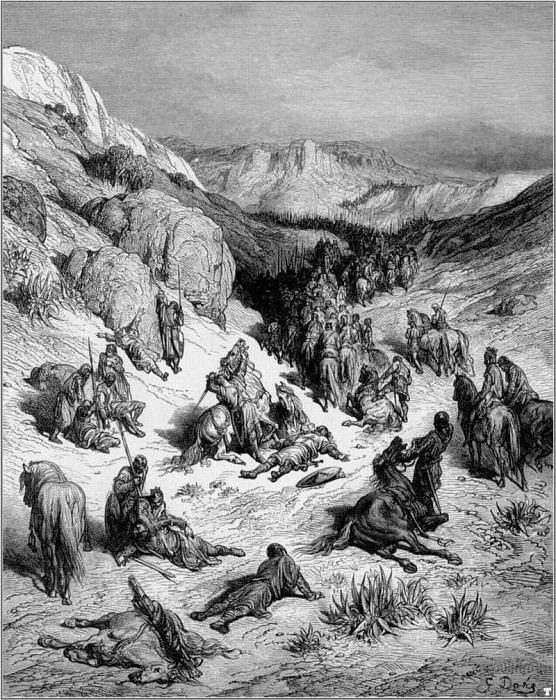 crusades syrian army sand storm. Gustave Dore